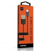 Кабель USB- Type-C SmartBuy ik-3112spbox, спиральный, 1,0 м, белый
