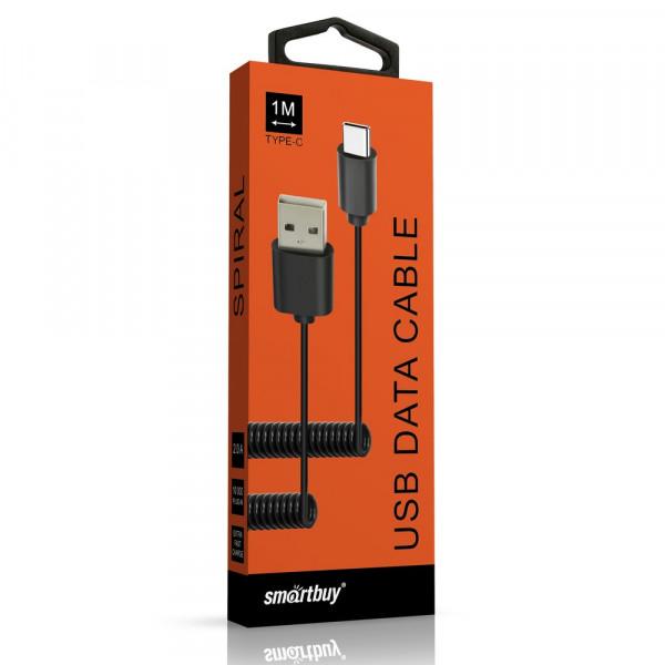 Кабель USB- Type-C SmartBuy ik-3112spbox, спиральный, 1,0 м, чёрный