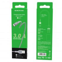 Кабель USB- Type-C Borofone BX21, серый металл штекер, 1м, круглый серый ткань, 3.0 A