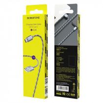 Кабель USB- Type-C Borofone BX24, серый металл штекер, 1м, круглый чёрно-серый нейлон