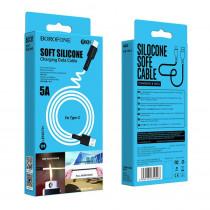 Кабель USB- Type-C Borofone BX31, чёрный TPE штекер, 1м, круглый белый силикон