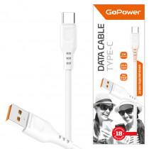 Кабель USB- Type-C GoPower GP01T, белый пластик штекер, 1м, круглый белый ПВХ, 2.4 A