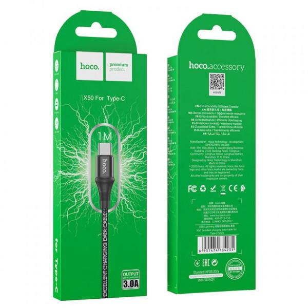Кабель USB- Type-C Hoco X50, чёрный металл штекер, 1 м, круглый чёрный нейлон, 3A