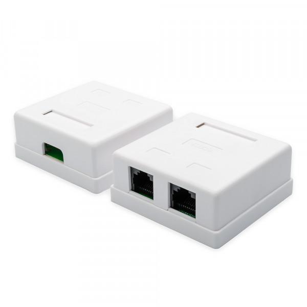 Розетка накладная ATcom AT15254 UTP, RJ45, Cat.5e, 2 порта, белая
