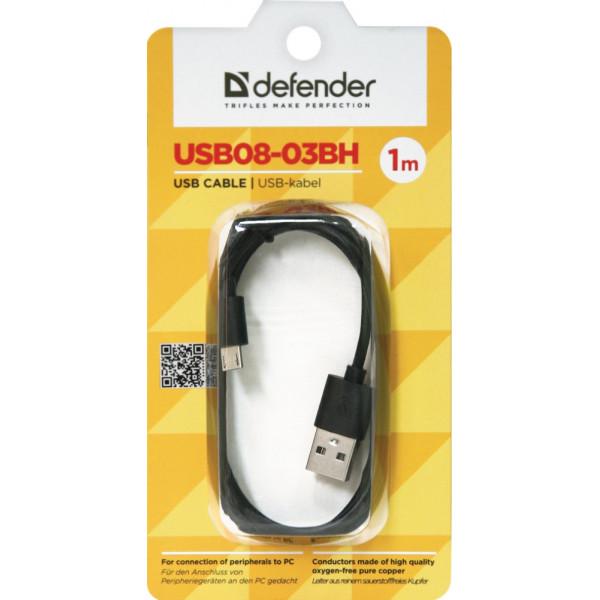 Кабель USB- micro-USB Defender USB08-03BH, чёрный пластик штекер, 1м, круглый чёрный ПВХ