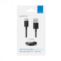 Кабель USB- Type-C Deppa, USB 3.0, 1.2 м, чёрный