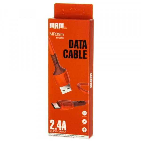 Кабель USB- micro-USB MRM MR39m, красный пластик штекер, 1м, круглый красный силикон, 2.4 A