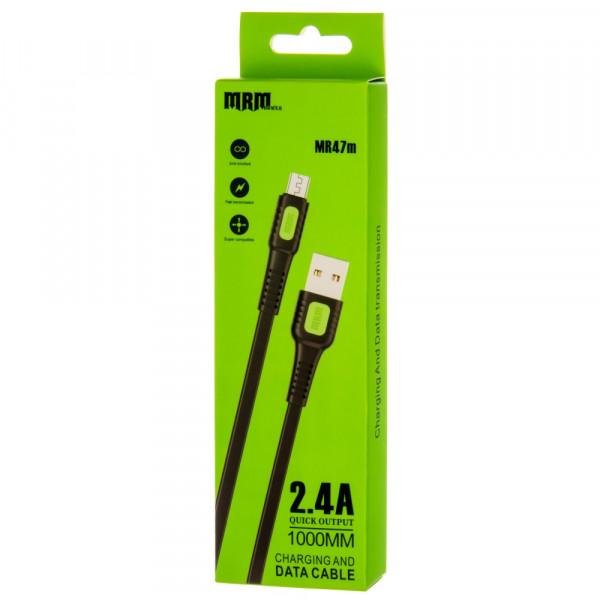 Кабель USB- micro-USB MRM MR47m, чёрный пластик штекер, 1м, плоский чёрный ПВХ, 2.4 A