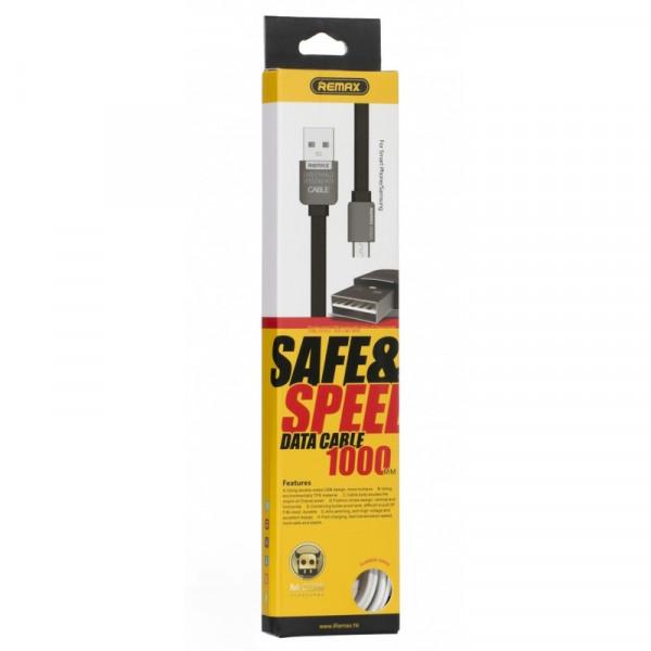 Кабель USB- micro-USB REMAX RE-92 (вид 2), чёрный металл штекер, 1м, плоский чёрный TPE