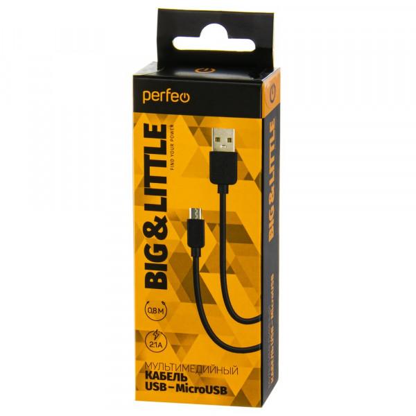 Кабель USB- micro-USB Perfeo U4008, чёрный, 0,8 м.