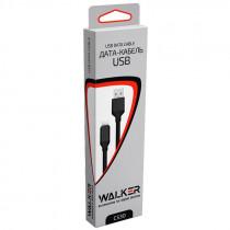 Кабель USB- Type-C WALKER C530, чёрный металл штекер, 1м, круглый рифлённый чёрный ПВХ, 2.4 A