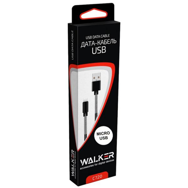 Кабель USB- micro-USB WALKER C720, серебро металл штекер, 1м, круглый белый TPE, 2.4 A