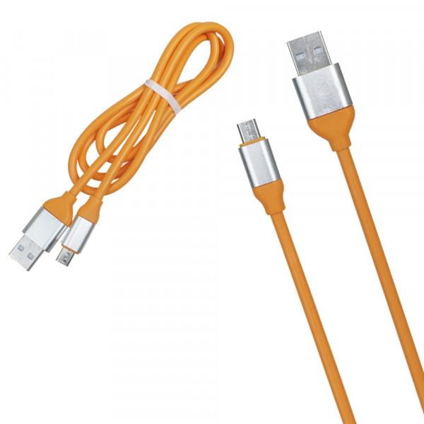 Кабель USB- micro-USB серебро металл штекер, 1м, круглый ТОЛСТЫЙ оранжевый TPE
