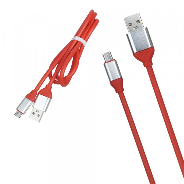 Кабель USB- micro-USB серебро металл штекер, 1м, круглый ТОЛСТЫЙ красный TPE