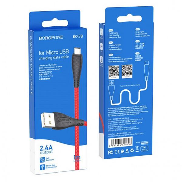 Кабель USB- micro-USB Borofone BX38, чёрный TPE штекер, 1м, круглый красный TPE, 2.4 A
