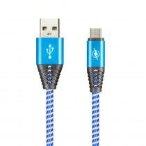 Кабель USB- micro-USB Smartbuy ik-12HH HEDGEHOG, ткань, 1 м, 2 A, синий