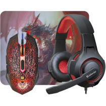 Игровой набор Defender DragonBorn MHP-003, мышь+гарнитура+коврик, чёрный
