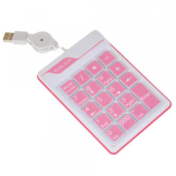 Клавиатура проводная Key Pad 18\19, силиконовая, розовый