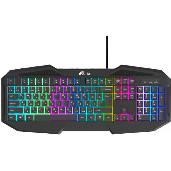 Клавиатура проводная Ritmix RKB-550 Black, подсветка, USB, чёрный