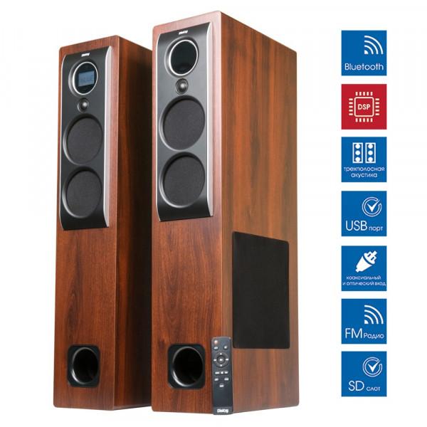 Акустические колонки AP-2500 Brown Dialog Progressive 2.0 110W RMS, BT, FM, USB,DSP,Optical,Coaxial, пульт ДУ
