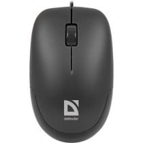 Мышь проводная Defender Datum MM-010 чёрный, оптическая, 3 кнопки, 1000 dpi