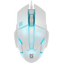 Мышь проводная Defender Host MB-982, оптическая, 7 цветов, 3 кнопки, 1000 dpi, белый