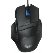 Мышь проводная игровая AULA S12, оптическая, 7 кнопок, 800-4800 dpi, 4 цвета, USB, чёрная