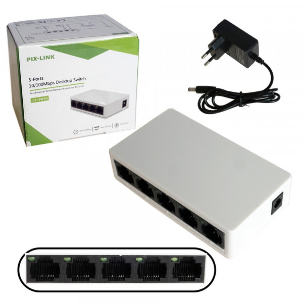 Коммутатор Pix-Link LV-SW05, 5 портов, 10/100 Мбит/с ГАРАНТИЯ 6 МЕСЯЦЕВ!!!