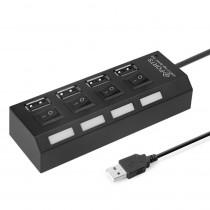 USB-хаб 4 порта SBHA-7204-B Smartbuy, с кнопками вкл/выкл, чёрный