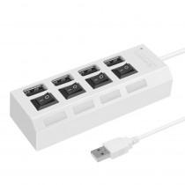 USB-хаб 4 порта SBHA-7204-W Smartbuy, с кнопками вкл/выкл, белый