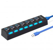 USB-хаб 7 портов SBHA-7307-B SmartBuy, USB 3.0, с кнопками вкл/выкл, чёрный