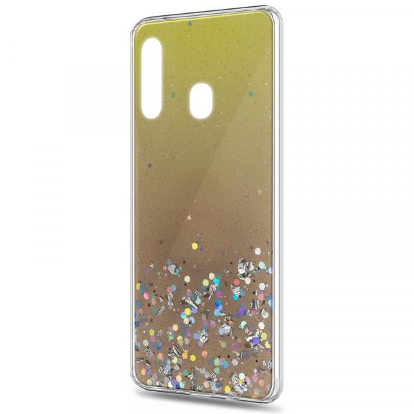Samsung A40 Бампер силиконовый имитация стекла с блёстками, золотой