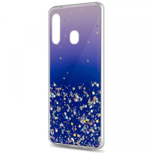 Samsung A40 Бампер силиконовый имитация стекла с блёстками, фиолетовый
