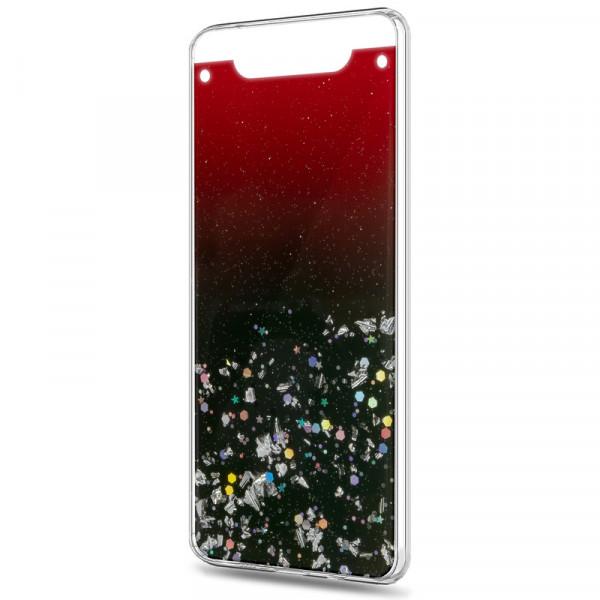 Samsung A80/A90 Бампер силиконовый имитация стекла с блёстками, тёмно-бордовый