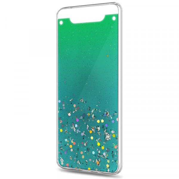 Samsung A80/A90 Бампер силиконовый имитация стекла с блёстками, зелёный