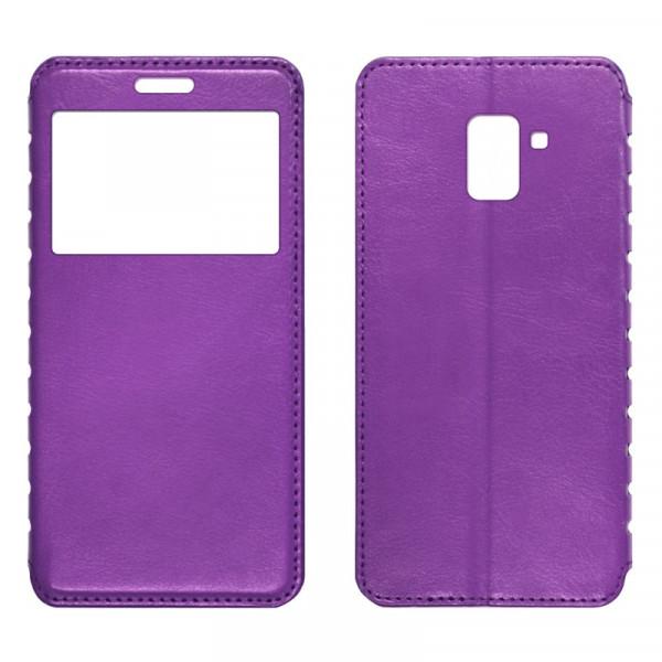 Samsung A8 (2018) Чехол-книжка с окном фиолетовый
