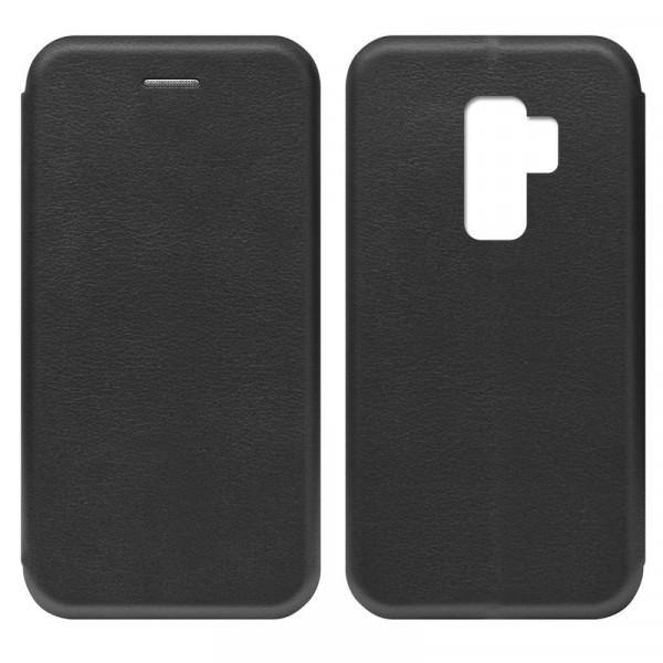 Samsung S9+ Чехол-книжка с силиконовой вставкой + магнит, чёрный