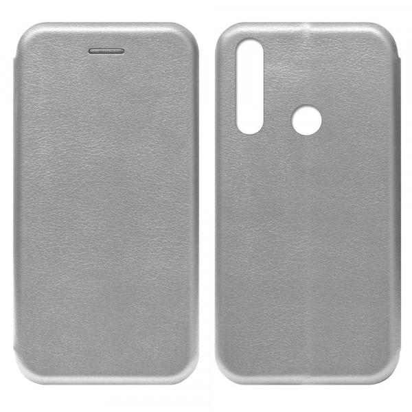 Huawei Y6p (2020) Чехол-книжка с силиконовой вставкой + магнит, серебро