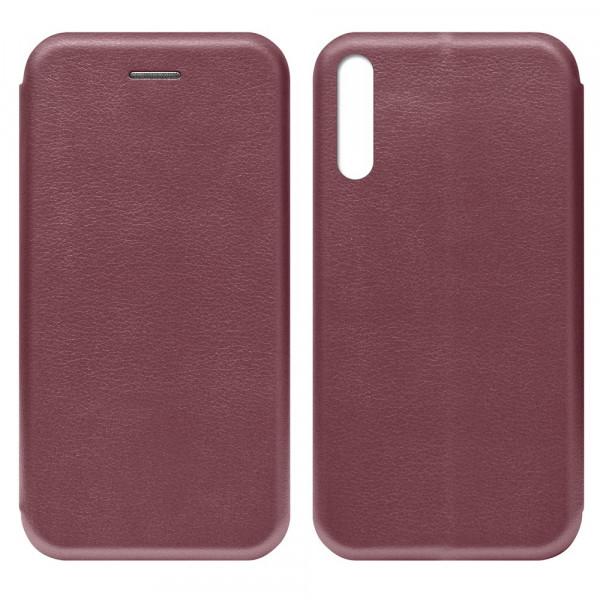 Huawei Y8p (2020) Чехол-книжка с силиконовой вставкой + магнит, бордовый