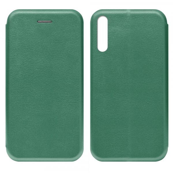 Huawei Y8p (2020) Чехол-книжка с силиконовой вставкой + магнит, тёмно-зелёный