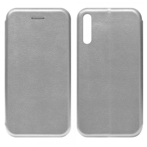 Huawei Honor 30i Чехол-книжка с силиконовой вставкой + магнит, серебро