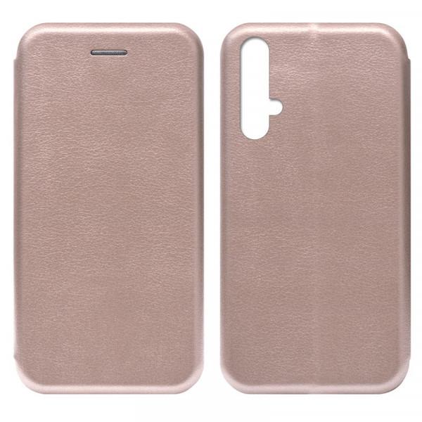 Huawei Honor 20 Чехол-книжка с силиконовой вставкой + магнит, розовое золото