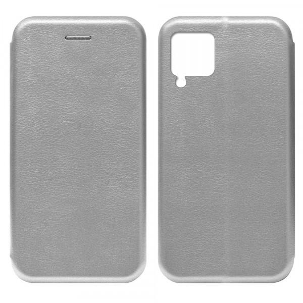 Huawei P40 Lite Чехол-книжка с силиконовой вставкой + магнит, серебро