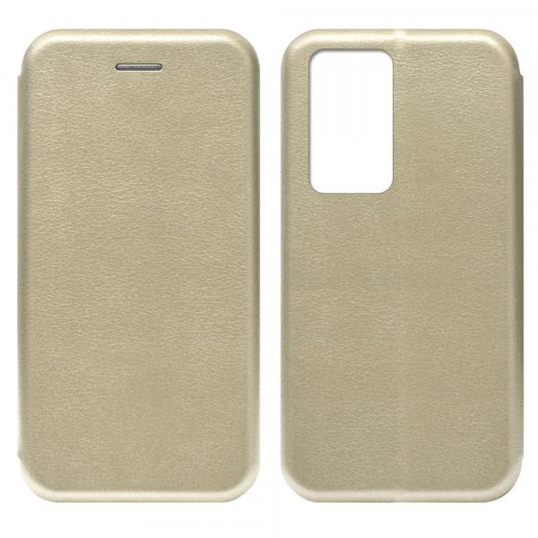 Huawei P40 Pro Чехол-книжка с силиконовой вставкой + магнит, золото
