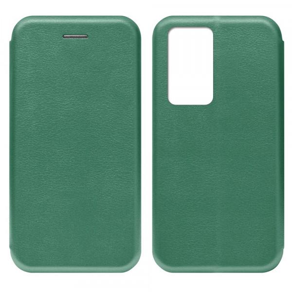 Huawei P40 Pro Чехол-книжка с силиконовой вставкой + магнит, тёмно-зелёный