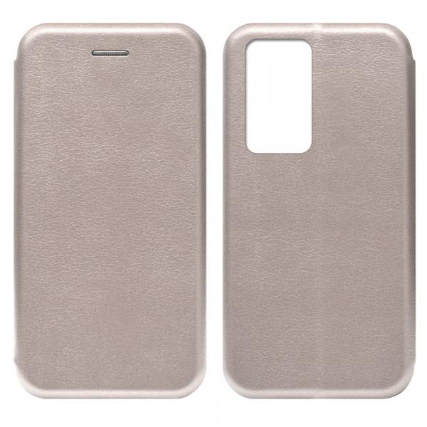 Huawei P40 Pro Чехол-книжка с силиконовой вставкой + магнит, розовое золото