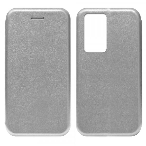 Huawei P40 Pro Чехол-книжка с силиконовой вставкой + магнит, серебро