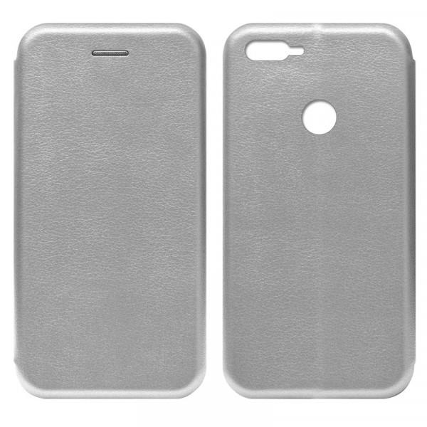 Huawei Honor 9 Lite 2017 Чехол-книжка с силиконовой вставкой + магнит, серебро