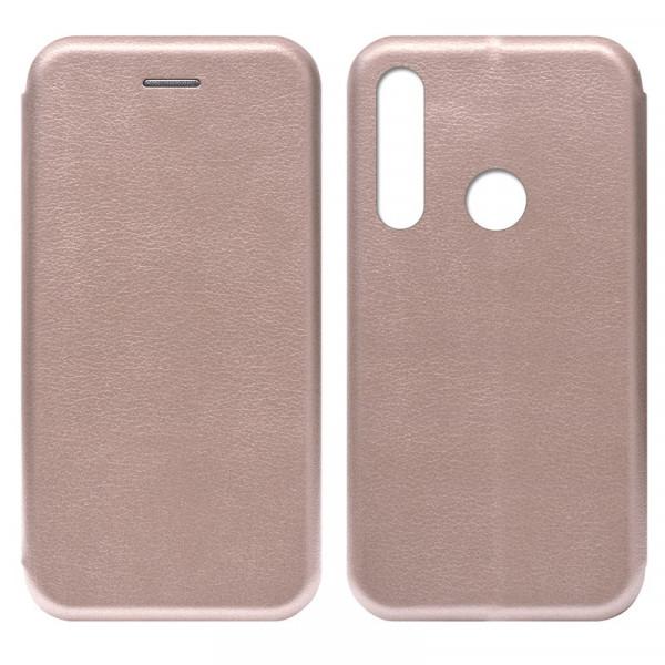 Huawei P40 Lite E / Honor 9C Чехол-книжка с силиконовой вставкой + магнит, розовое золото
