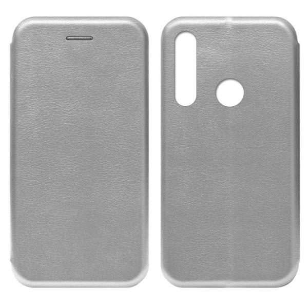 Huawei P40 Lite E / Honor 9C Чехол-книжка с силиконовой вставкой + магнит, серебро